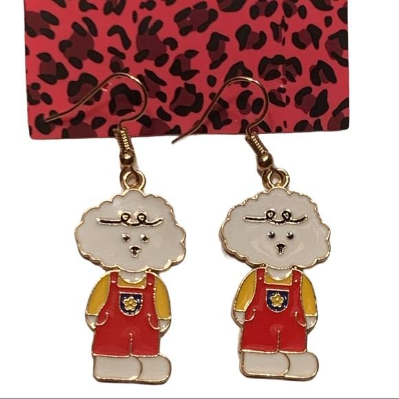 Betsey Johnson Style - Dog Figurine Drop Earrings